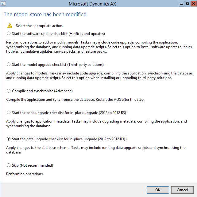 Please Select Start The Data Upgrade Checklist For In Place