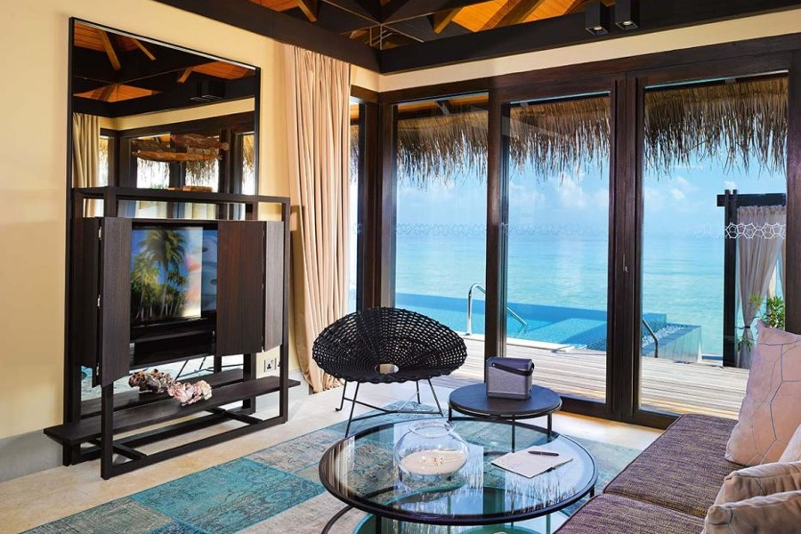 Resort Maldive Velaa Private Island sunrise water pool villa