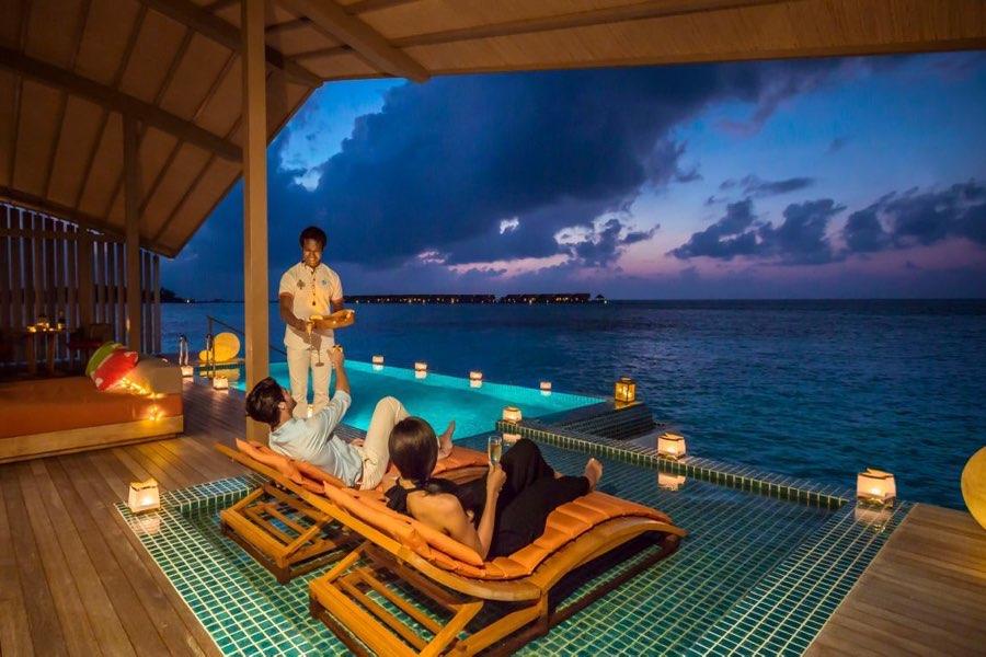Club Med Finolhu Villas Maldive sunset overwater villa