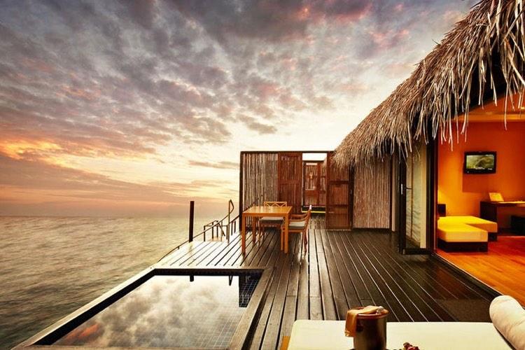 Adaaran Prestige Vadoo resort Maldive sunset water villas