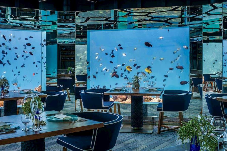 Anantara Kihavah Villas resort Maldive ristorante sottomarino