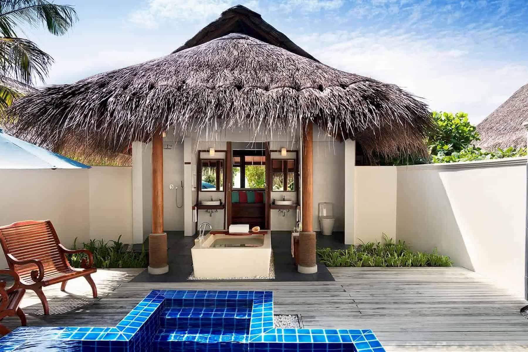 Anantara Dhigu resort Maldive sunset pool villa