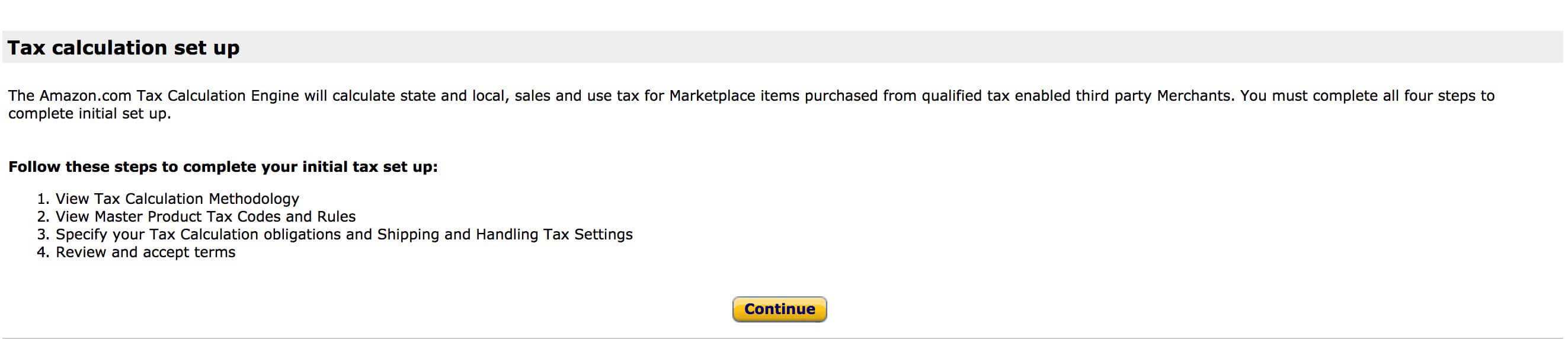 set up taxes in amazon seller central