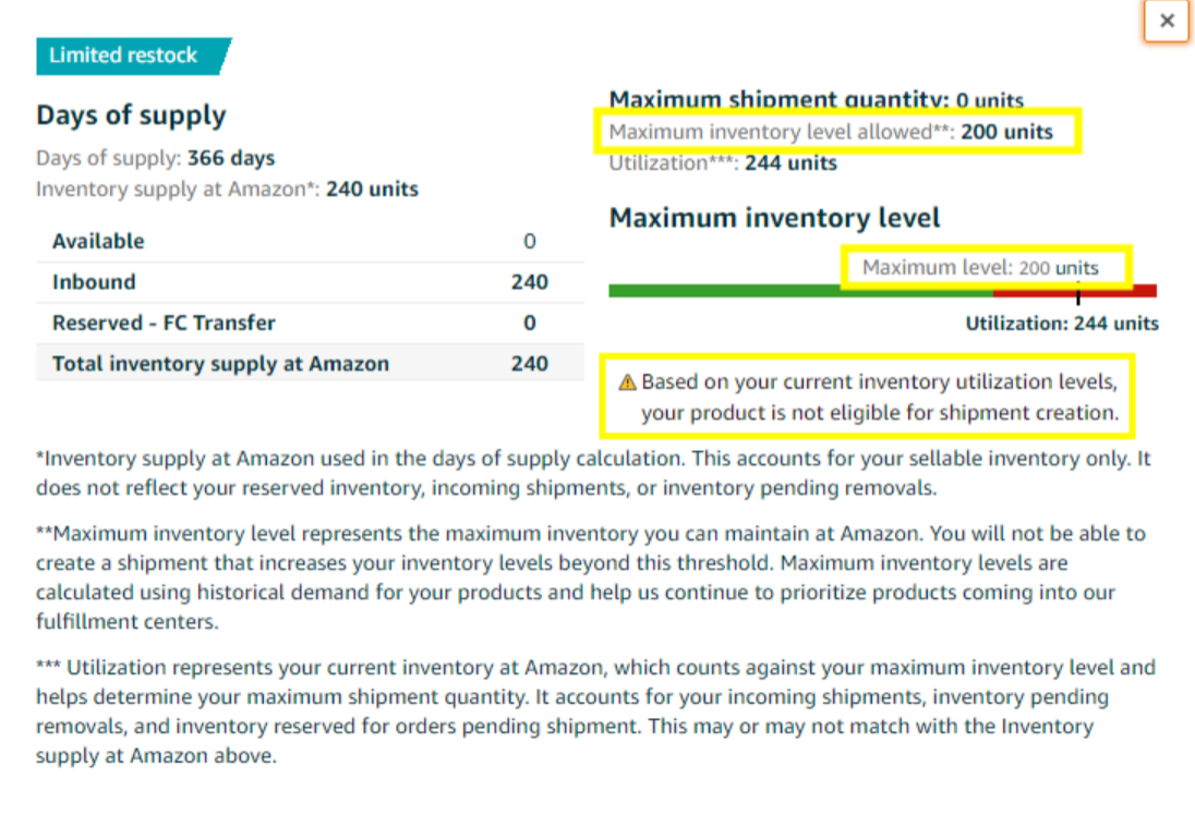 Amazon Inventory Limits
