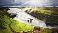 Gullfoss waterfall in summer
