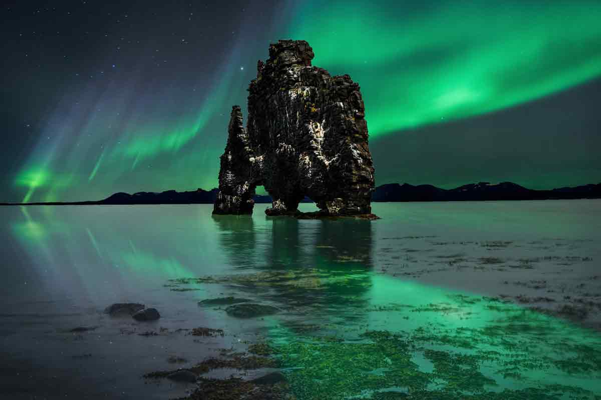 The Auroras dancing in South of Iceland