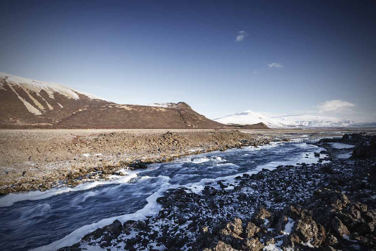 Langjökull and a frozen river