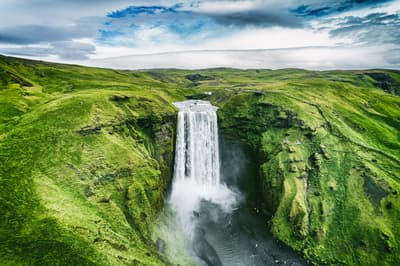 Drone image of skógafoss