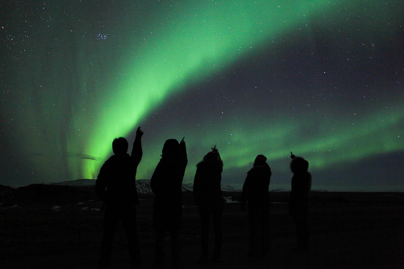 People enjoying the northern lights