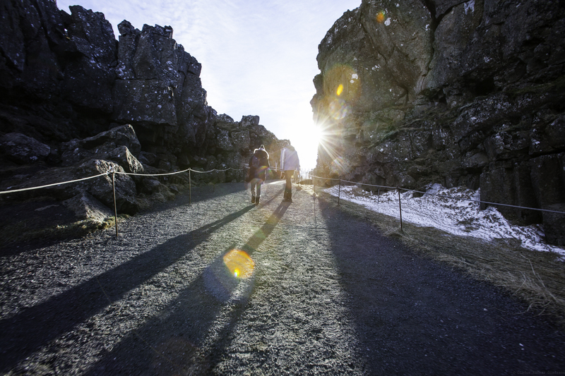 walking between the continental plates at Þingvellir