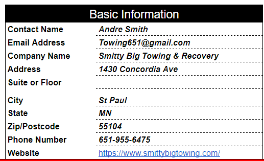 Smitty Big Towing Citation Report