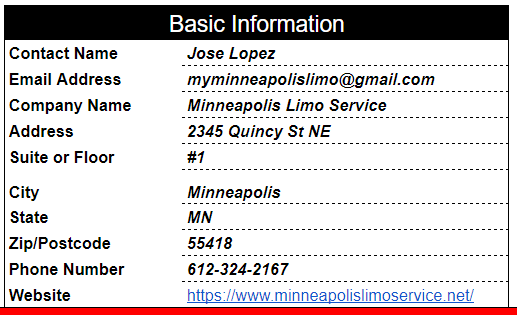 Minneapolis Limo Service Citation Report