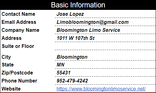 Bloomington Limo Citation Report
