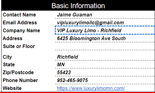VIP Luxury Limo - Richfield Citation Report
