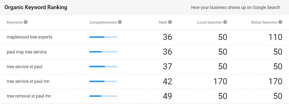 organic keyword rankings