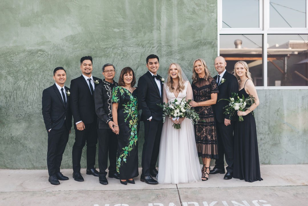 bride and groom family photo