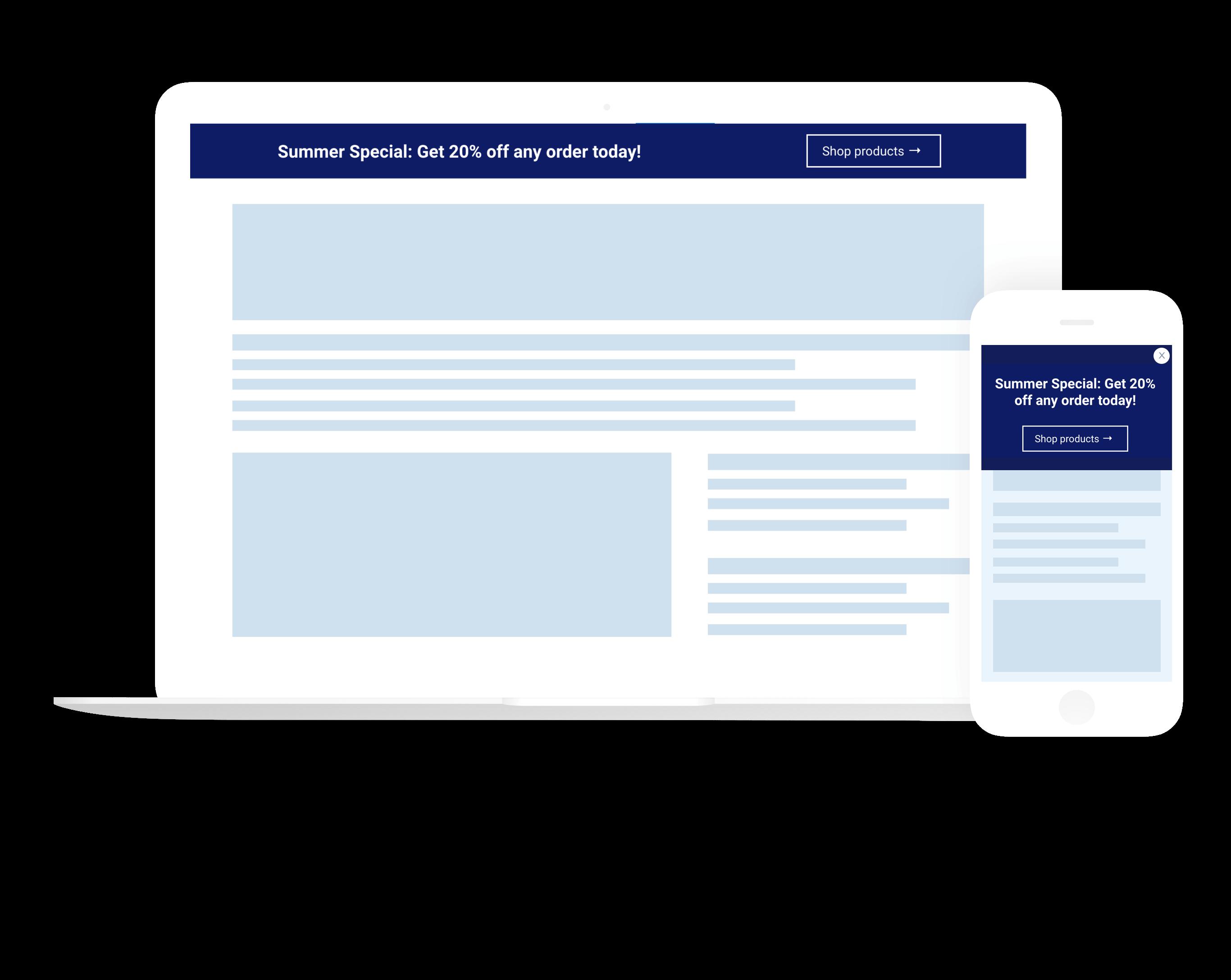 Mobile responsive announcement bars