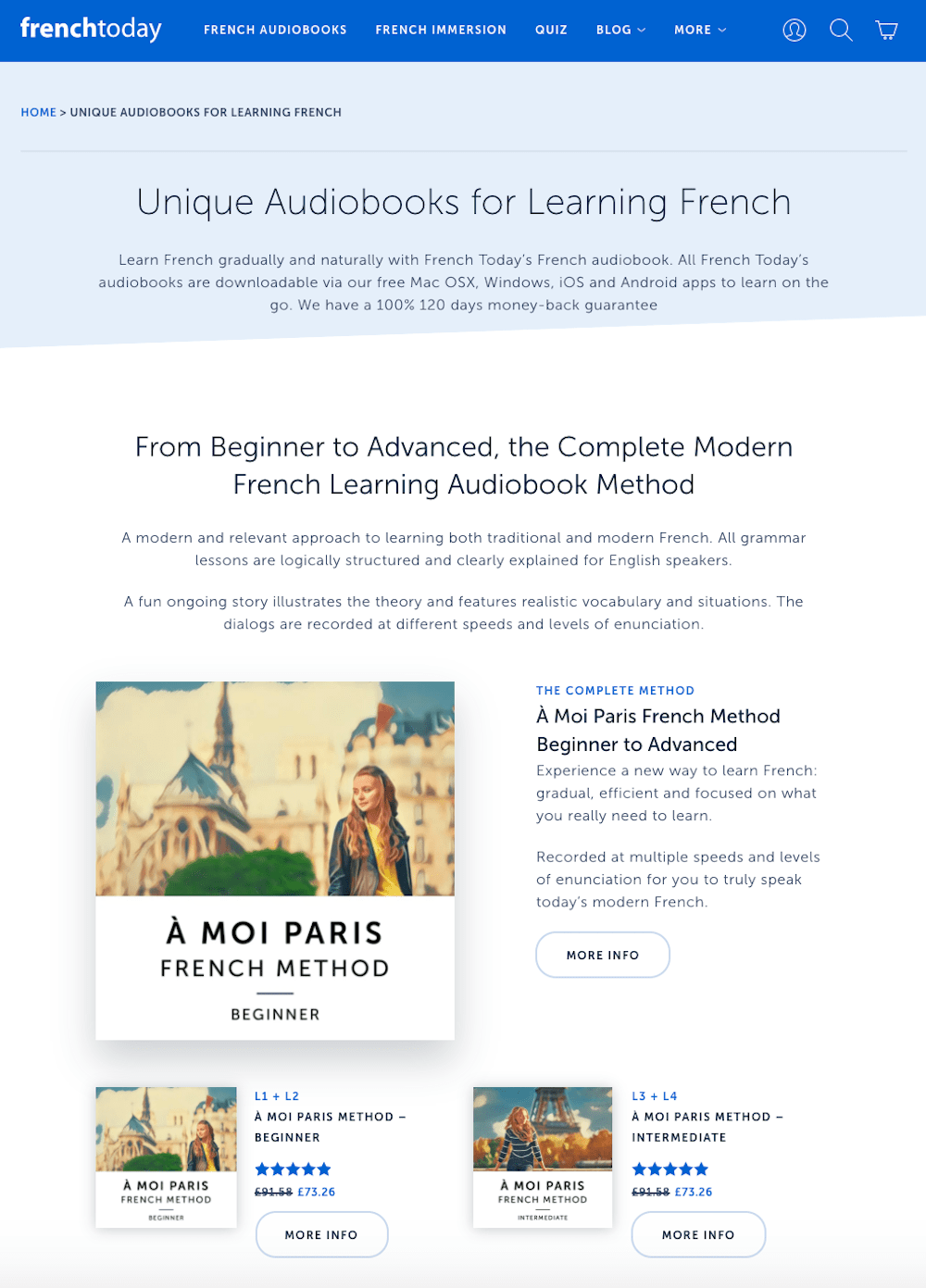 French Today audiobook landing page