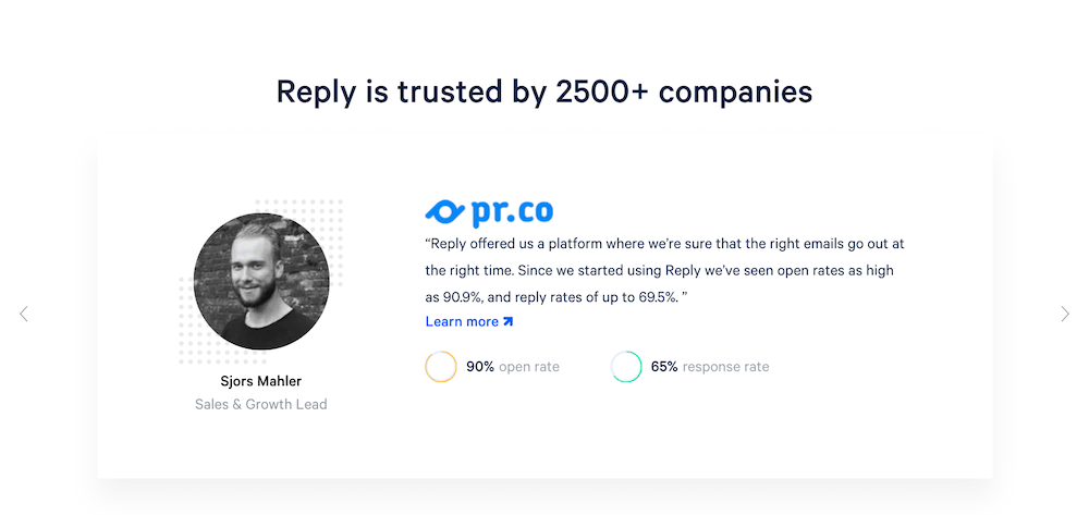 Reply social proof