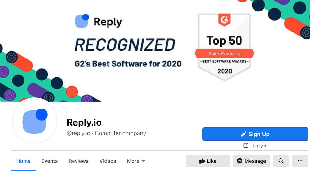 Reply.io Facebook page header image