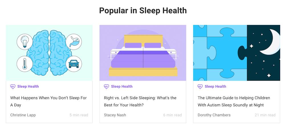 Sleepjunkie blog screenshot