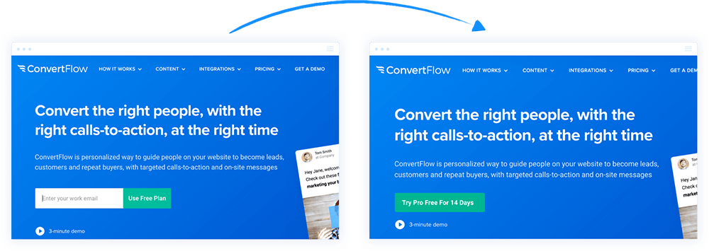 ConvertFlow free to paid plan CTAs