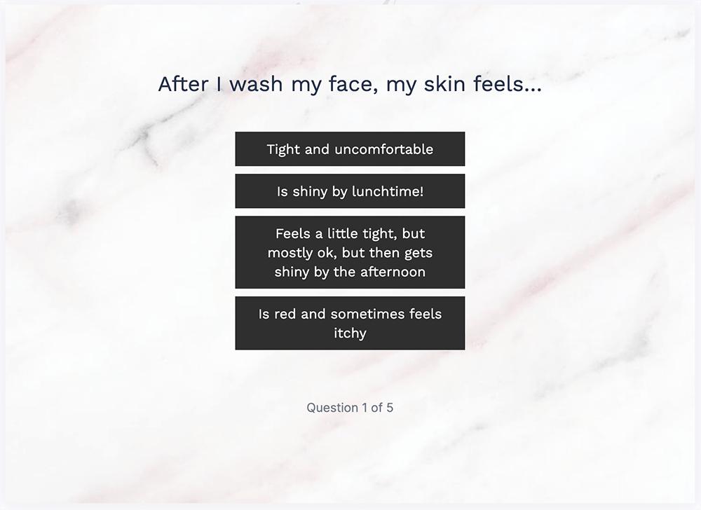 Amelia Gray Skincare quiz step 2