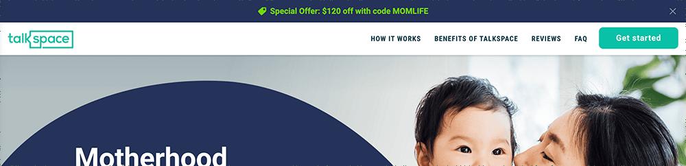 Talkspace MOMLIFE coupon code sticky bar