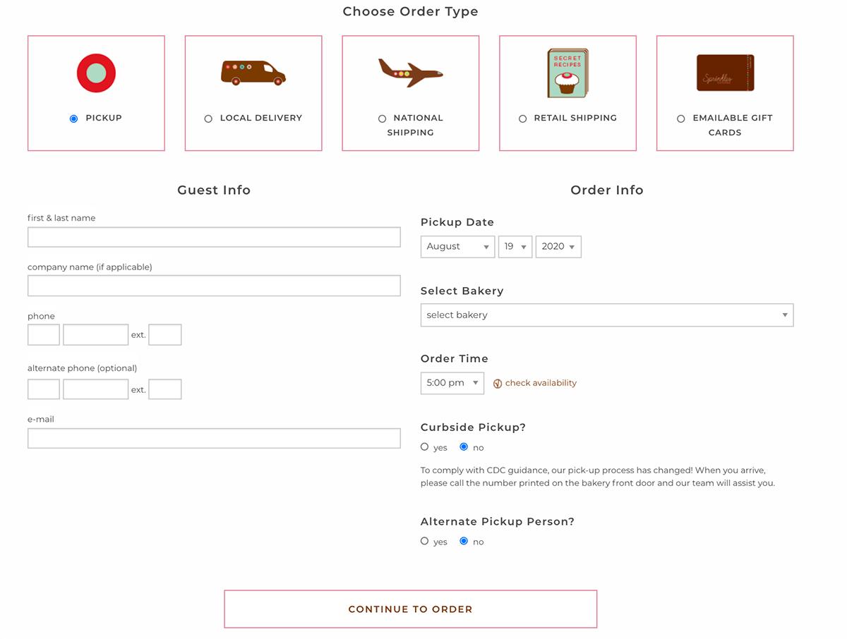 Sprinkles cake order form example