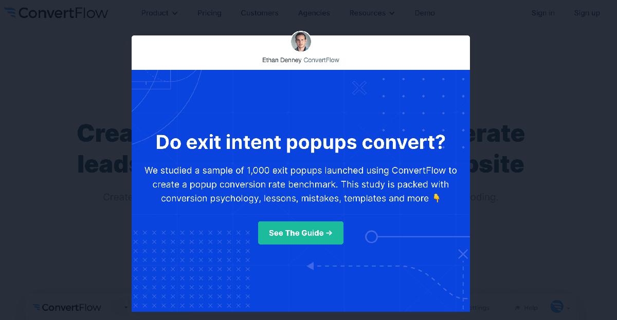Popup examples: ConvertFlow exit-intent