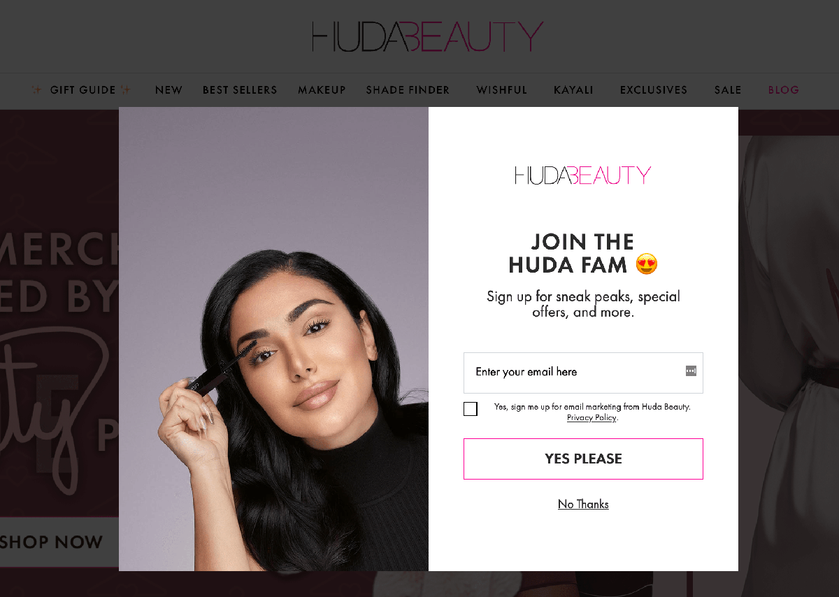 Popup examples: Huda Beauty join the family