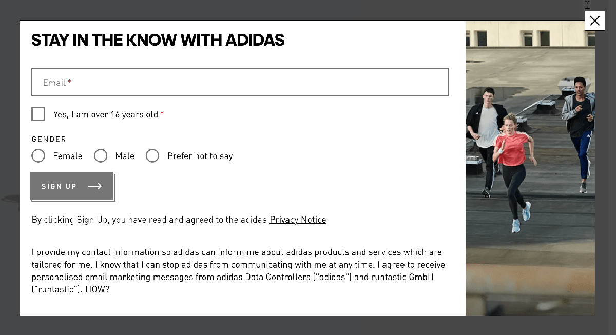 Popup examples: Adidas product page