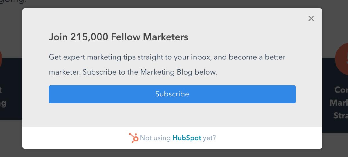 Popup examples: HubSpot blog subscribe