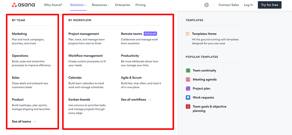 Asana user segment pages