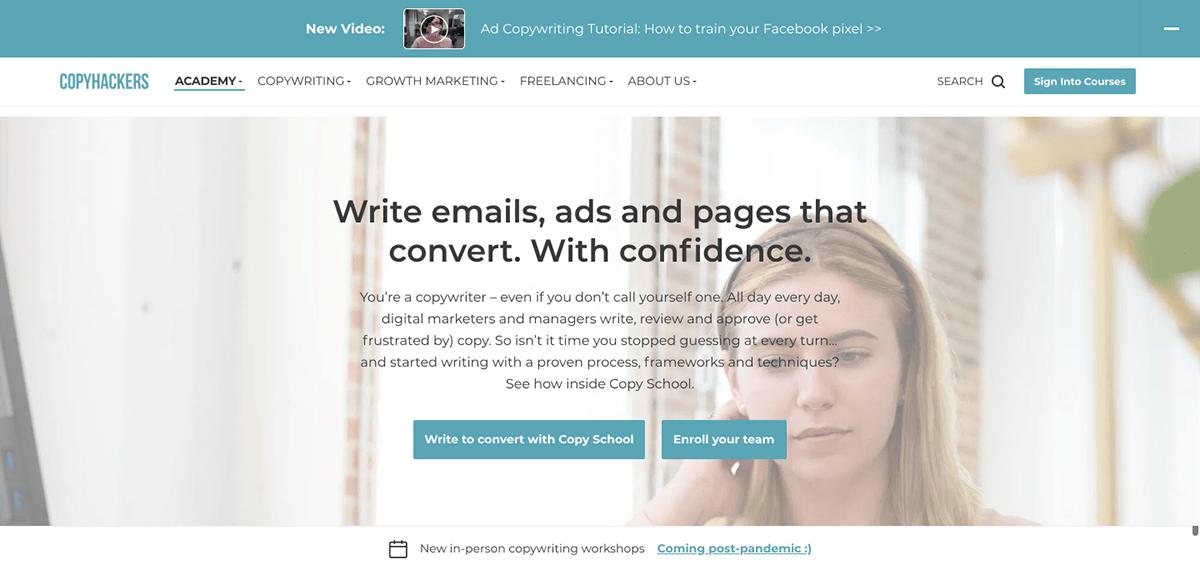 B2B landing page examples: Copyhackers