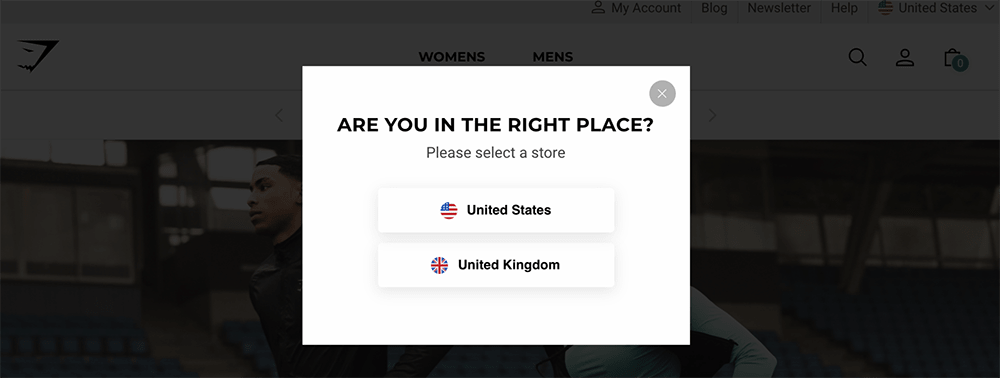 Gymshark website personalization