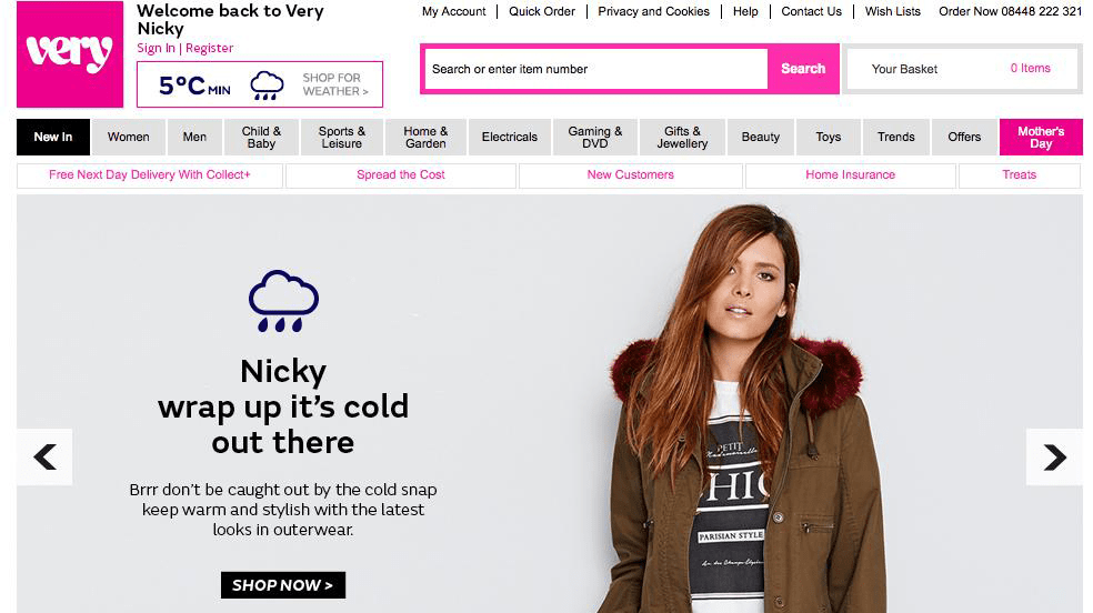 Very.co.uk rainy day home page