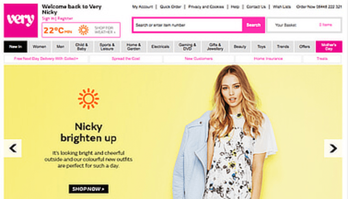 Very.co.uk sunny day home page