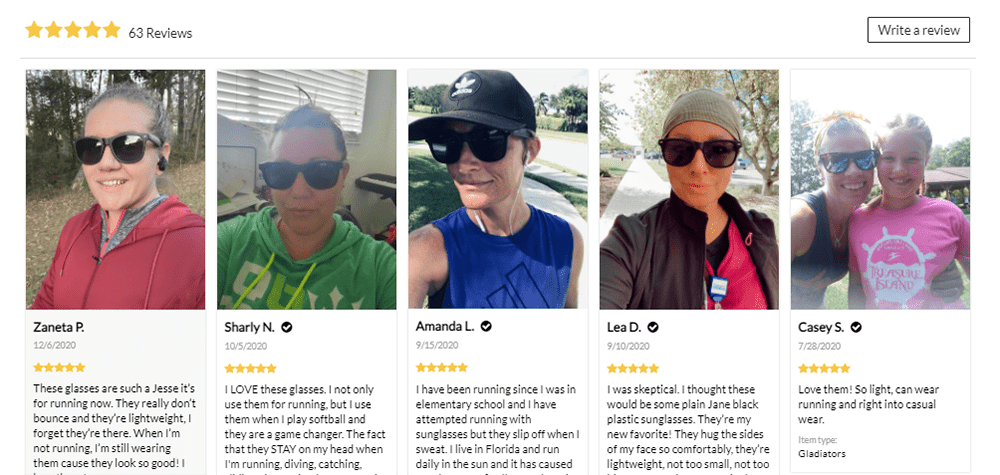 Image based product reviews on Runners Athletics website