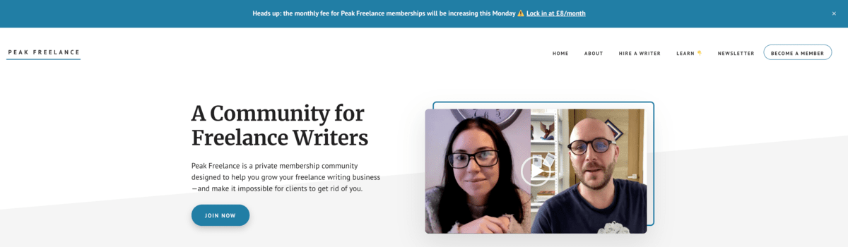 Peak Freelance Wordpress announcement bar example