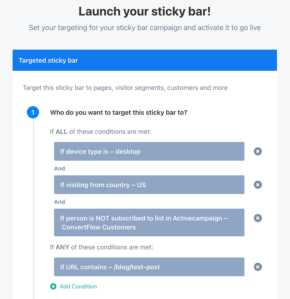 Sticky bar targeting example