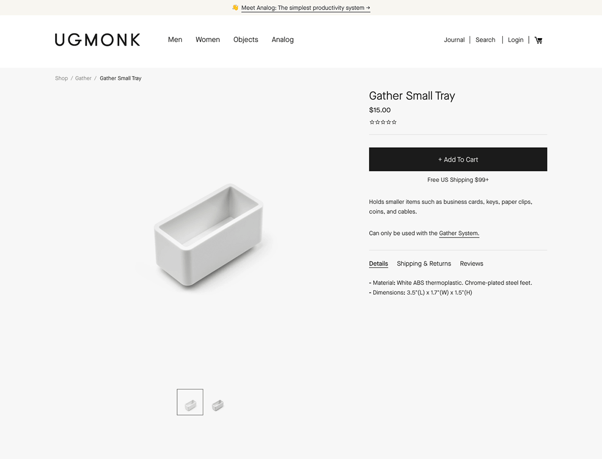 Ecommerce landing pages example: Ugmonk