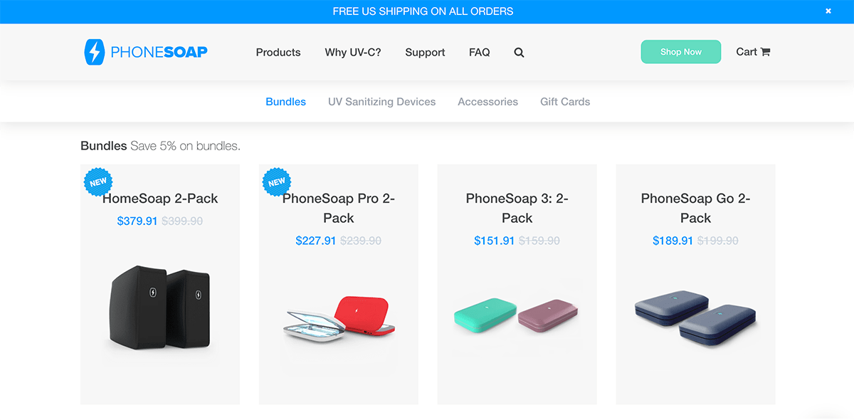 Ecommerce landing pages example: PhoneSoap