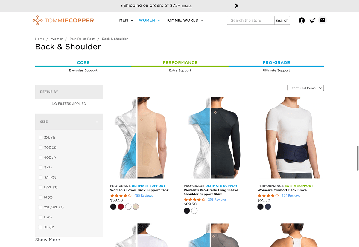 Ecommerce landing pages example: Tommie Copper