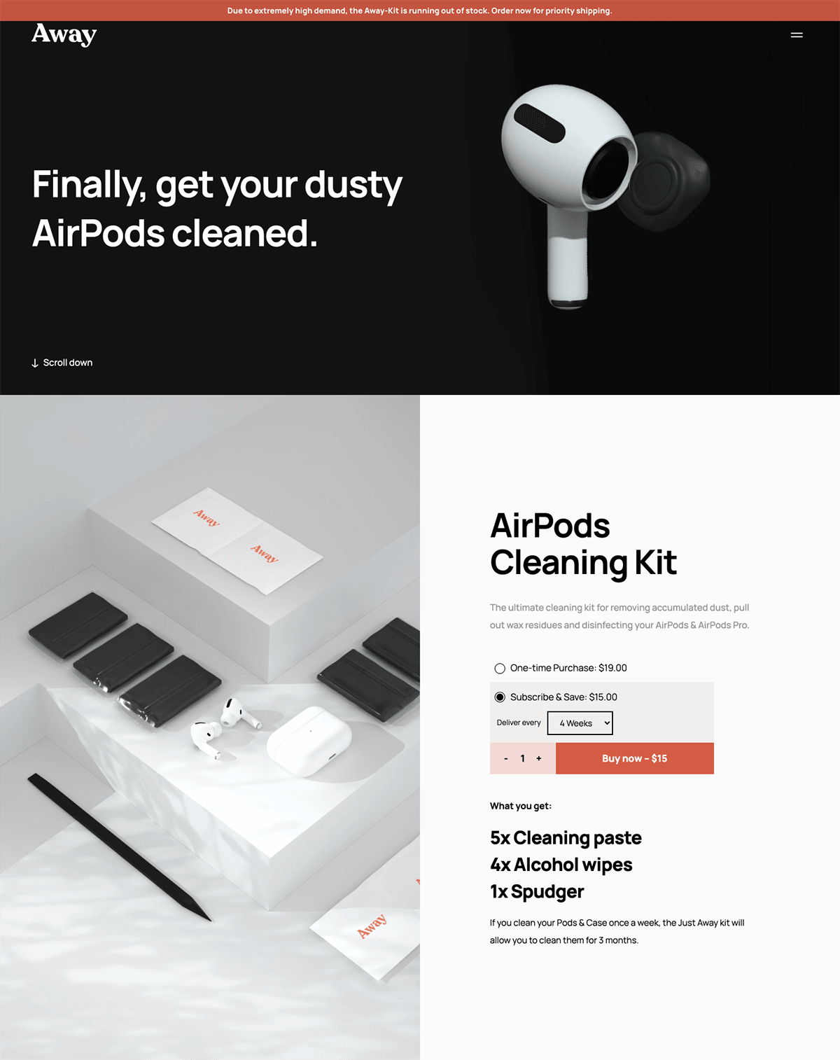 Ecommerce landing pages example: Just Away