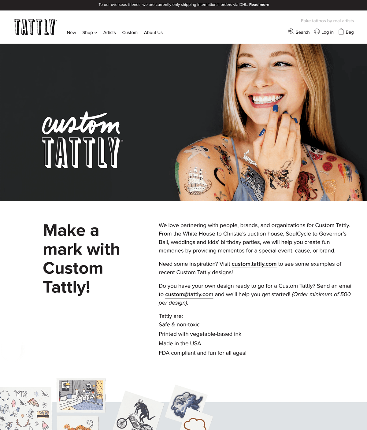 Ecommerce landing pages example: Tattly