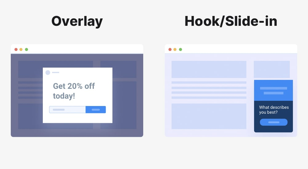 Popup types side by side
