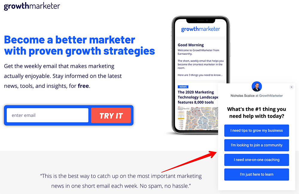 Growth Marketer survey example