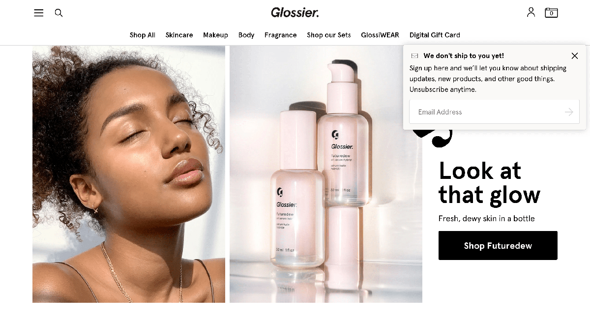 Glossier popup design example