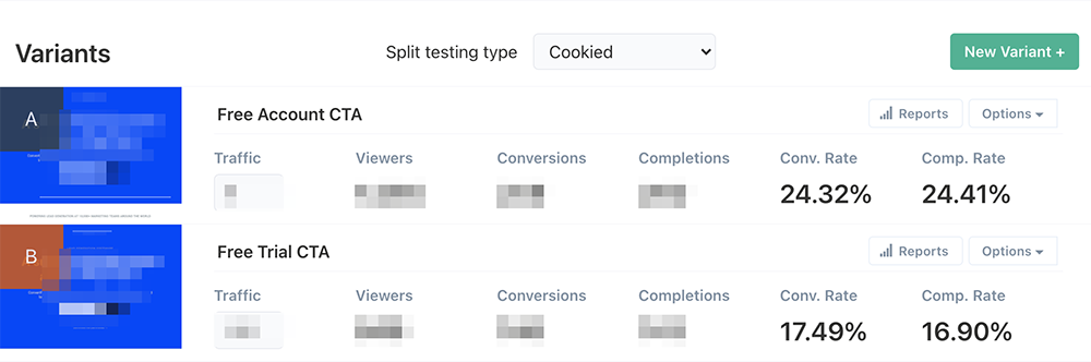 A/B testing example in ConvertFlow